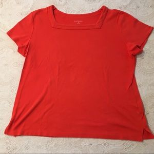 Kim Rogers Square Neck Short Sleeve Red T Shirt XL